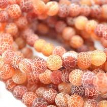 Oranje Agaat mat crackle oranje rood 7mm