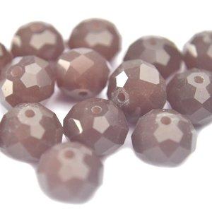 Paars Facet rondel aubergine opaal 10x8mm - 6 stuks