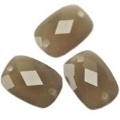 Grijs Quartz facet tussenzetsel greige opaal 14x10mm