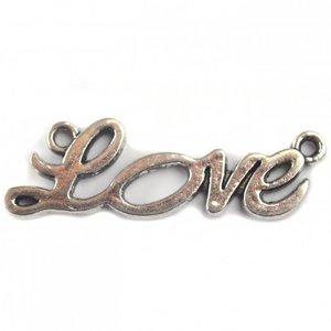 """Zilver Tussenzetsel """"love"""" zilver 33x10mm"""