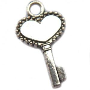 Zilver Bedel sleutel zilver 17x11mm