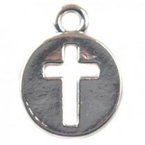 Zilver Bedel munt met kruis verzilverd 14x11mm