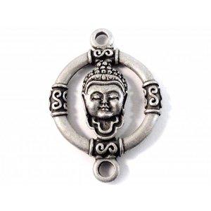 Zilver Tussenzetsel buddha zilver 45x32mm