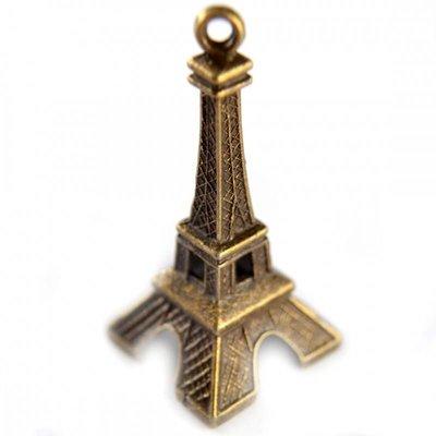 Antiek Goud Brons Bedel eiffeltoren metaal brons 47x23mm