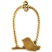 Goud Bedel vogel schommel metaal goud 32x18mm