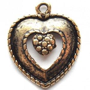 Goud Bedel hart antiek goud DQ 24x19mm