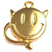 Goud Bedel smiley devil metaal goud DQ 18x14mm