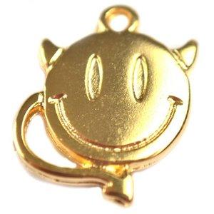Goud Bedel smiley devil goud DQ 18x14mm