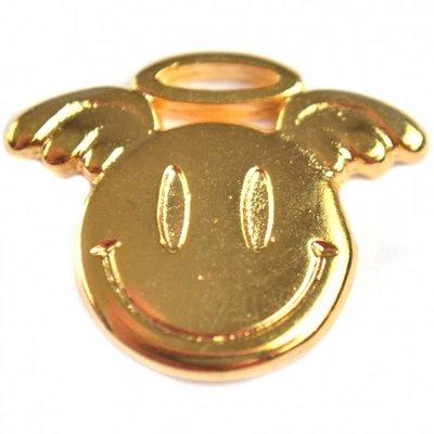 Goud Bedel smiley angel metaal goud DQ 19x15mm