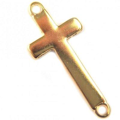 Goud Tussenzetsel kruis metaal goud DQ 16x36mm