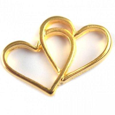 Goud Tussenzetsel hartjes metaal goud DQ 19x14mm