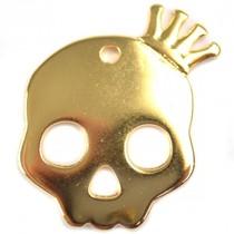 Goud Bedel skull met kroon groot goud DQ 38mm