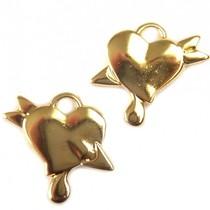 Goud Bedel hart met pijl goud DQ 23mm