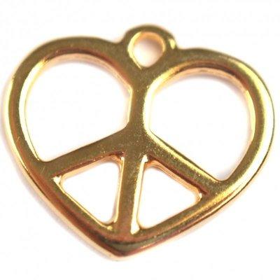 Goud Bedel hart peace metaal goud DQ 17x15mm