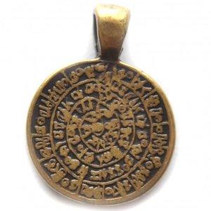 Antiek Goud Brons Bedel muntje Grieks brons DQ 21mm