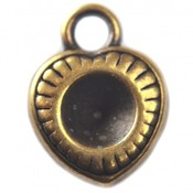 Antiek Goud Brons Bedel hartje voor swarovski SS29 metaal brons DQ 12mm