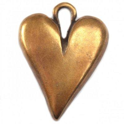 Antiek Goud Brons Bedel hart metaal brons DQ 32mm