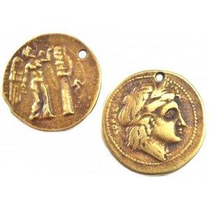 Antiek Goud Brons Bedel griekse munt metaal brons DQ 24mm