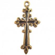Antiek Goud Brons Bedel kruis brons DQ 47mm