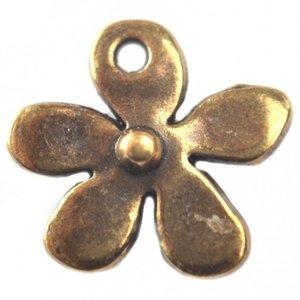 Antiek Goud Brons Bedel bloemetje brons DQ 13mm