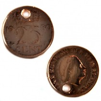 Rosegoud Bedel munt kwartje roségoud DQ 18mm