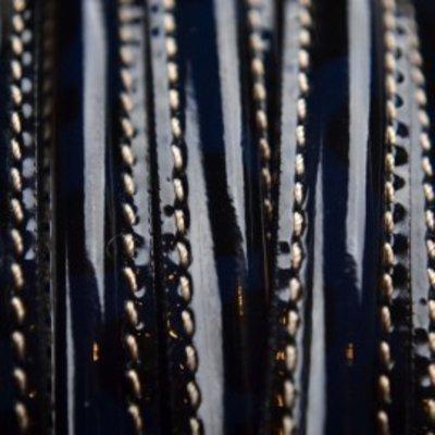 Blauw Dubbel stitched leer met tunnel marine blauw lak 10x5mm (per cm)