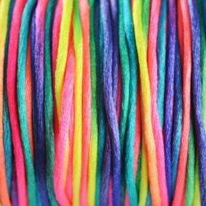 Multicolor Satijnkoord fluor regenboog 2mm - per meter