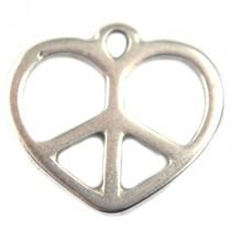 Zilver Bedel hart peace zilver DQ 17x15mm