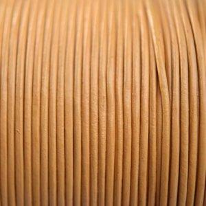 Geel Leer rond mat oker geel camel 1mm - per meter