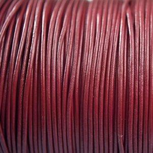 Rood Leer rond kersen rood paars 1mm - per meter
