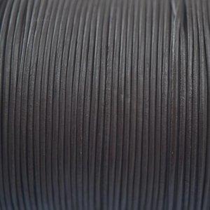 Bruin Leer rond mat donker bruin 1mm - per meter