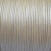 Wit Leer rond wit parelmoer goud 1mm - per meter