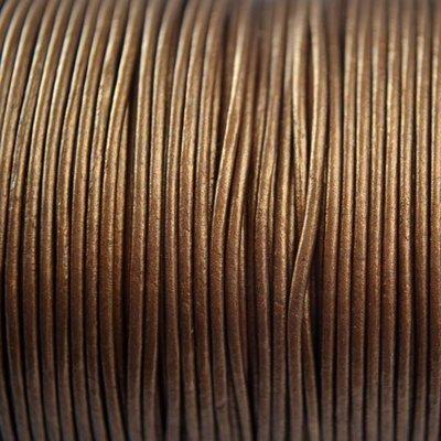 Bruin Leer rond goud brons metallic 1mm - per meter