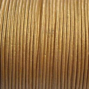 Goud Leer rond geel goud metallic 1mm
