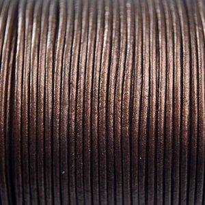 Bruin Leer rond brons parelmoer metallic 1mm - per meter
