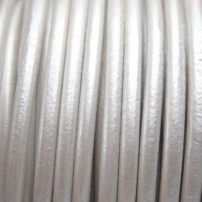 Grijs Leer rond DQ metallic zilver wit 4.5mm