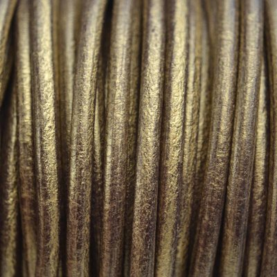Goud Leer rond DQ metallic antiek goud 4.5mm
