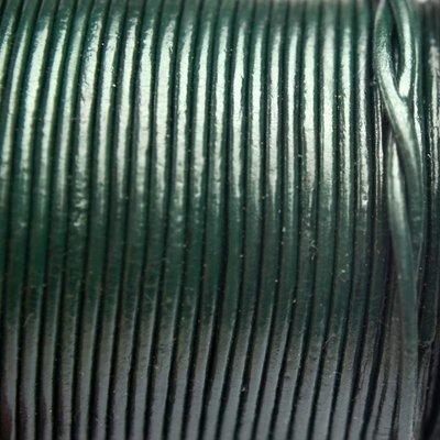 Groen Leer rond donker groen 1mm