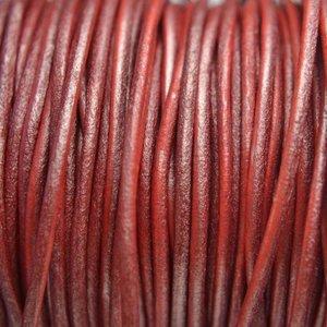 Rood Leer rond DQ metallic rood 2mm