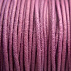 Paars Leer rond DQ mat aubergine paars 2mm