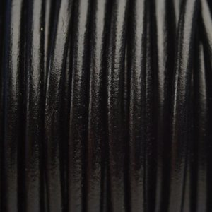 Zwart Leer rond DQ zwart 4.5mm