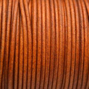 Bruin Leer rond DQ cognac bruin 2mm