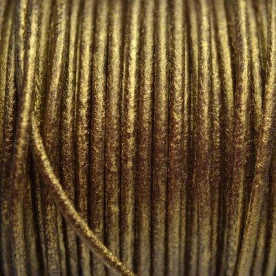 Goud Leer rond DQ antiek goud metallic 2mm