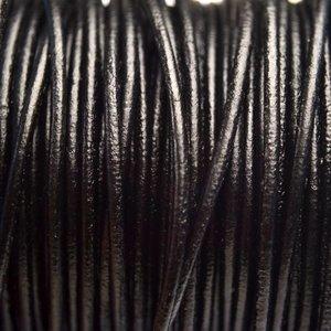 Zwart Leer rond DQ zwart 2mm