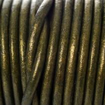 Groen Leer rond donker groen metallic 3mm - prijs per meter