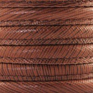 Bruin Stitched leer warm bruin gestreept ±8x5mm per 10cm