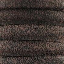 Bruin Stitched leer donker vintage bruin geschuurd suede ±8x5mm per 10cm