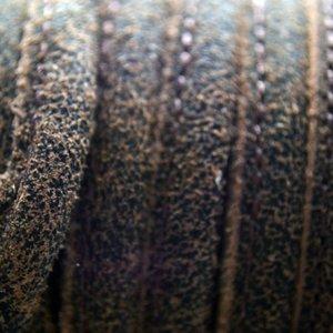 Bruin Druppelvormig Stitched leer geschuurd bruin å±8x5mm