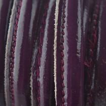 Rood Stitched leer lak bordeaux paars ±8x5mm per 10cm