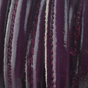 Rood Stitched leer lak bordeaux paars å±8x5mm per 10cm